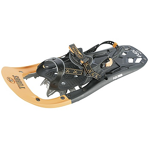 Camp and Hike On Sale. Free Shipping. Tubbs Men's Flex Alp Snowshoe DECENT FEATURES of the Tubbs Men's Flex Alp Snowshoe Viper 2.0 and Traction Rails: Our most aggressive traction yet, the Viper 2.0 crampon doubled up with micro-serrated 3D-Curved Traction Rails make the Flex ALP one of the best Backcountry snowshoes on the market. The curved shape helps prevent fore-aft slippage on steeper terrain, and the micro-serration gives you maximum grip FLEX Tail: The patented FLEX Tail technology allows the snowshoe to roll more naturally underfoot from heel strike to toe off. The FLEX Tail absorbs shock from the initial heel strike, reducing the amount of stress on ankles, knees and hips Torsion Deck: Tubbs' advanced Torsion Deck design adapts to variable snow conditions underfoot. The deck allows torsional articulation throughout the body of the snowshoe, enhancingtraction, biomechanics and comfort on uneven terrain Rotating Toe Cord: The Rotating Toe Cord design enables the tail of the snowshoe to drop, shedding snow off the tail and reducing cardio-respiratory strain by 7%. The underfoot pivot point also allows the teeth on the toe traction to bite deeply into the snow when weighted Rotating Toe Rotation Limiter: The Rotating Toe Cord design enables the tail of the snowshoe to drop, shedding snow and reducing cardio-respiratory strain by 7%, while a Rotation Limiter prevents over-rotation Active Lift: Designed to make steep ascents easier, the ActiveLift heel lift reduces calf fatigue and Achilles tendon strain when climbing. The heel lift can be easily pulled up and down with the handle of your snowshoe pole. The 19deg Backcountry heel lift is ideal for extreme steeps, while the 16c Day Hiking version is designed formoderate terrain Active FLEX: The gender-specific, asymmetric ActiveFLEX binding, featuring patented Control Wings, provides lightweight control, support, comfort and ease of use. Men's binding fits up to size 13 boots Traction Rails: The 3D-Curved Traction Rails ensure superior side-hill grip in hardpacked and icy conditions. The curved shape helps prevent fore-aft slippage on steeper terrain by avoiding the in.saw bladein. effect. The Traction Rails are curved up at the tip to provide traction during toe off without causing you to trip Viper 2.0: The Viper 2.0 carbon steel toe crampon's jagged tooth construction maximizes weighted traction and responsiveness. The aggressive tangs in the toe crampon are concave to give the crampon a scooping function in soft snow The SPECS Dimensions: 24in. / 61 cm Weight/Pair: 4.5 lbs / 2.04 kg - $182.99
