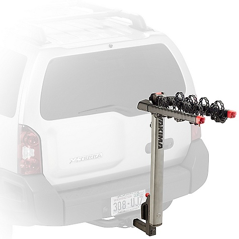 Fitness On Sale. Free Shipping. Yakima Flip Side Bike Rack DECENT FEATURES of the Yakima Flip Side Bike Rack Handy dandy 4-bike capacity Compatible with 2in. and 11/4in. (class 2 or 3) hitch receivers right out of the box The entire hitch carrier tilts 90deg to the left or right for best-in-class rear-of-vehicle access Premium sliding Switchblade anti-sway cradles eliminate bike-to-bike contact and improve ease of loading Our finest arm padding ensures superior bike protection Trigger finger technology lets you fold arms down with the press of a button Integrated Lockdown security cable and Hitch Lock included so you can lock up to 4 bikes to your hitch carrier, and the hitch carrier to your vehicle Premium metallic powder coat finish Integrated bottle opener Carries up to 4 bikes Patented Anti-Sway Cradles for superior bike protection Premium automotive finish, reflective logo Tilts to the side for superior rear-of-vehicle access Improved strapping for better stability Arms and mast fold down when not in use Large, easy-to-grip triggers to fold down arms and mast Large covers to reduce risk of pinching Fits 2in. and 1 1/4in. hitches out-of-the-box Integrated cable lock included, hidden inside mast Built-in bottle opener The SPECS Weight: 36.8 lbs Dimension: About 43in. highand 39in. extension from hitch bolt hole (14in. when folded.) About 12in. between back of mast and hitch bolt hole. Distance from the bolt hole to part of the rack nearest the vehicle is 9in.. Distance between arms is 11in. (center to center). For swinging rear door clearance, the arms are about 12in. high from the center of the tongue when flipped Capacity: 4 bikes up to 30 lbs each. (Maximum 120 lbs.)  var dealerId=16; var newWindow=in.falsein.; var docHead = document.getElementsByTagName('head')[0];  var yakima_config = document.createElement('script'); window.onload=function(){  yakima_config.type = 'text/javascript';   yakima_config.src = 'http://yakima.com/dealers/yakima_configurator.js';   docHead.appendChild(yakima_config); }; - $287.10