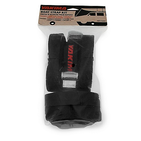On Sale. Yakima Boat Strap Kit DECENT FEATURES of the Yakima Boat Strap Kit Includes two cam buckle straps, two bow/stern tie-down straps with plastic bumper guards, and two steel s-hooks The SPECS Capacity: Secures 1 bow and stern  var dealerId=16; var newWindow=in.falsein.; var docHead = document.getElementsByTagName('head')[0];  var yakima_config = document.createElement('script'); window.onload=function(){  yakima_config.type = 'text/javascript';   yakima_config.src = 'http://yakima.com/dealers/yakima_configurator.js';   docHead.appendChild(yakima_config); }; This product can only be shipped within the United States. Please don't hate us. - $27.00