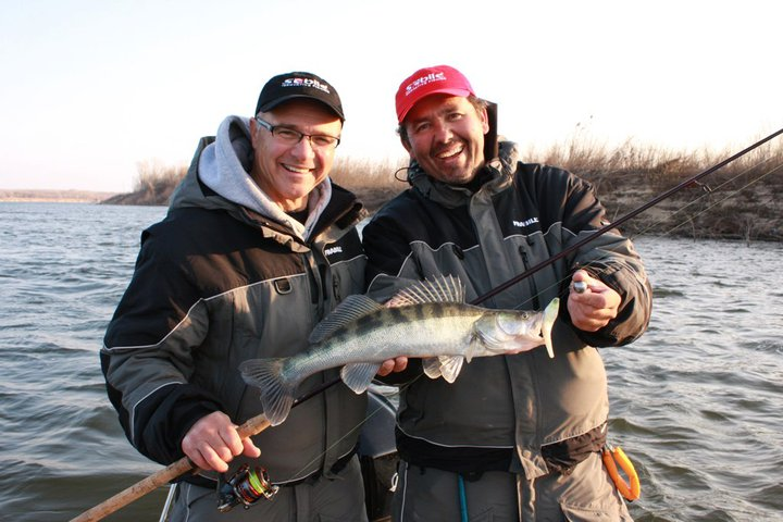 Fishing Mike Pehanich (left) and Patrick Sebile (right) with a Zander on the Volga River. The area they fished on the Volga River in southwest Russia is approximately on the same latitude as Duluth, Minnesota; they experienced a mix of weather, from unseasonably