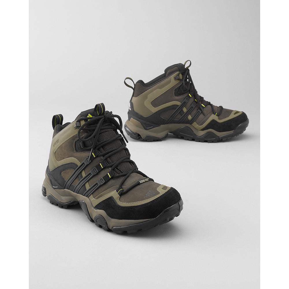 Camp and Hike Adidas Trans X Mid GTX Hiking Shoes - Stand-out support in a lightweight hiking shoe. Outdoor FORMOTION technology enhances motion control and reduces pressure on knees, ankles and legs on uneven ground. adiPRENE(TM) extra-propulsion in forefoot. Stabilizing midsole; EVA insole. Waterproof nubuck leather upper and GORE-TEX lining. Kevlar laces. Rubber sole. - $109.99