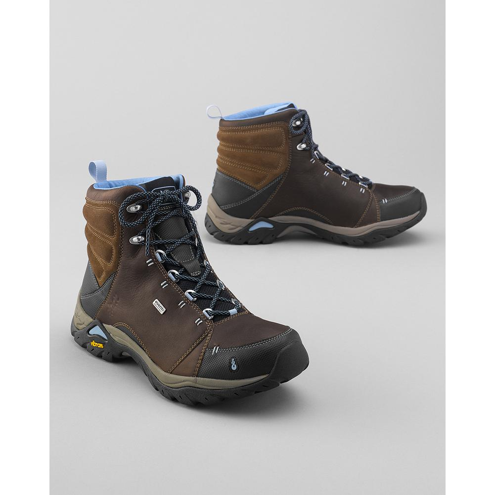 Camp and Hike Ahnu Montara Hiking Shoes - Optimal trail performance in a well-built pair of Ahnu hiking shoes. Waterproof nubuck/suede upper and eVent membrane. Dual-density EVA midsole. Aegis antimicrobial protection. Vibram rubber sole. Imported. - $119.99