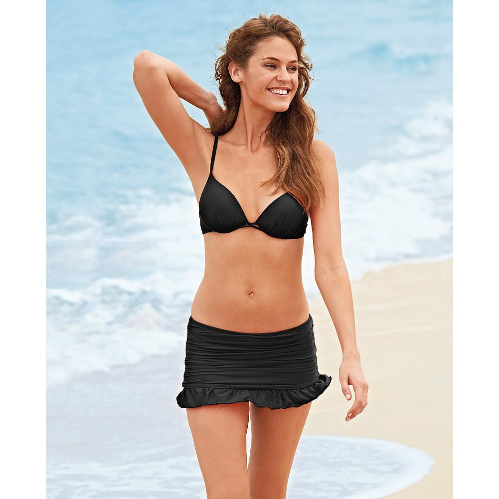 Fitness Athena Ruched Swim Skirt - Solid - Our exclusive Athena swim separates are designed with Slim-Power(TM) lining, an inner construction that shapes and enhances every body type. This popular swim skirt provides just the right amount of coverage for hips and thighs. Pair with any of our Athena tops to customize your suit. - $19.99