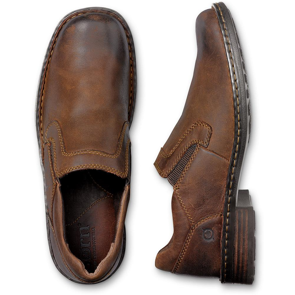 Entertainment B rn Bowie Slip-On Shoes - B rn's casual slip-on oxford shoes are crafted of rich, full-grain leather with hand-sewn Opanka construction for added flexibility and comfort. Side goring for easy on and off. Leather foot bed and lining. Wrapped leawood heel. Durable rubber sole. - $69.99