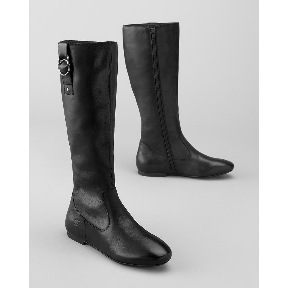 Entertainment B rn Lainie Flat Boots - Sleek lines and B rn's exceptional hand-sewn Opanka construciton make this your new go-to boot for casual wear and more. Leather or suede upper with metal details. Fabric-lined shaft. Full inside zip. Rubber sole. - $79.99