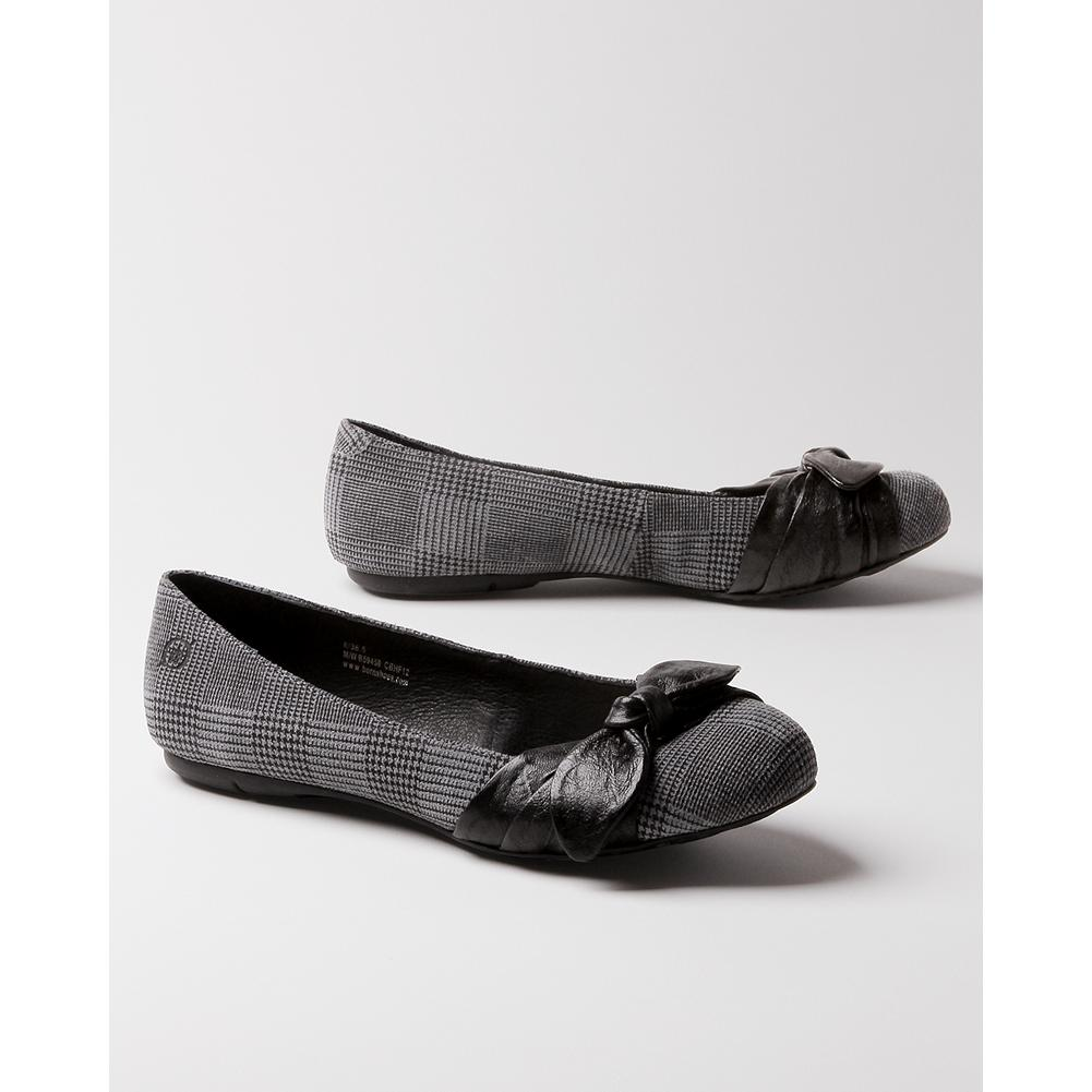 Entertainment B rn Molly Flats - These charming ballerina-style flats feature B rn's exclusive handsewn Opanka construction for exceptional flexibility and comfort. An off-center hand-knotted leather bows add the finishing touch. - $59.99