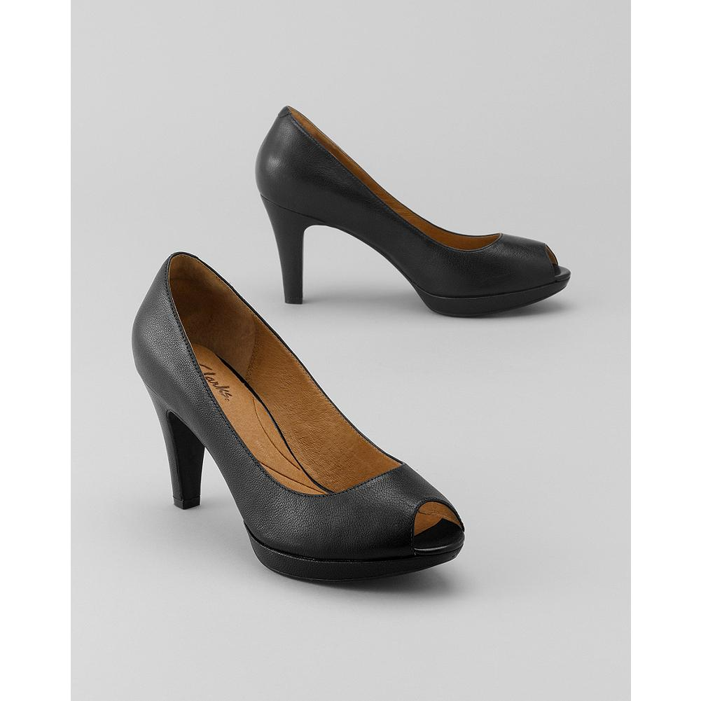 Clarks Wessex Eider Pumps - These classic peep-toe pumps by Clarks offer contemporary comfort with a 3-inch comfort platform heel. - $59.99