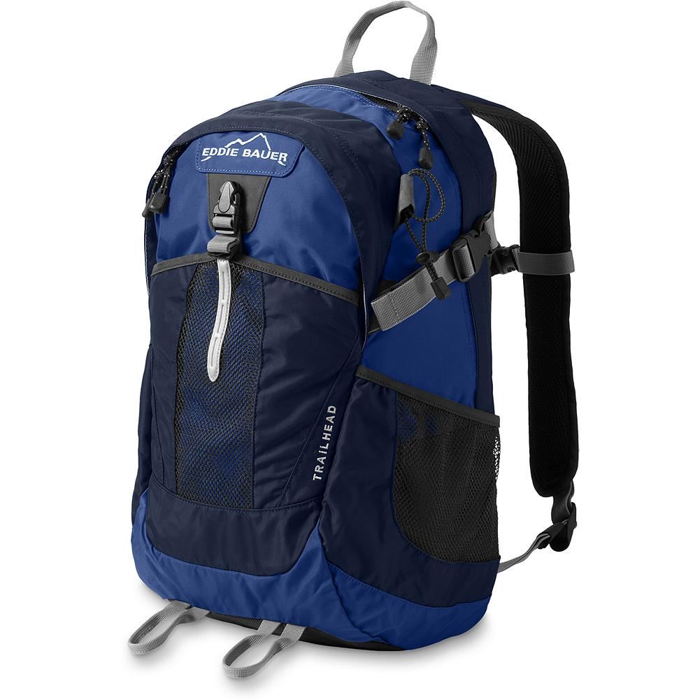 "Eddie Bauer Trailhead Pack - Our Trailhead backpack is guaranteed tough and built to travel light. It's designed for day hikes, commuting or school when you or your kids need great performance, but not a super high volume capacity. Computer pocket fits a 15.4"" laptop. Easy-access organizer panel for extra storage. Stuff-it pocket keeps energy snacks or an extra layer close at hand. - $49.99"