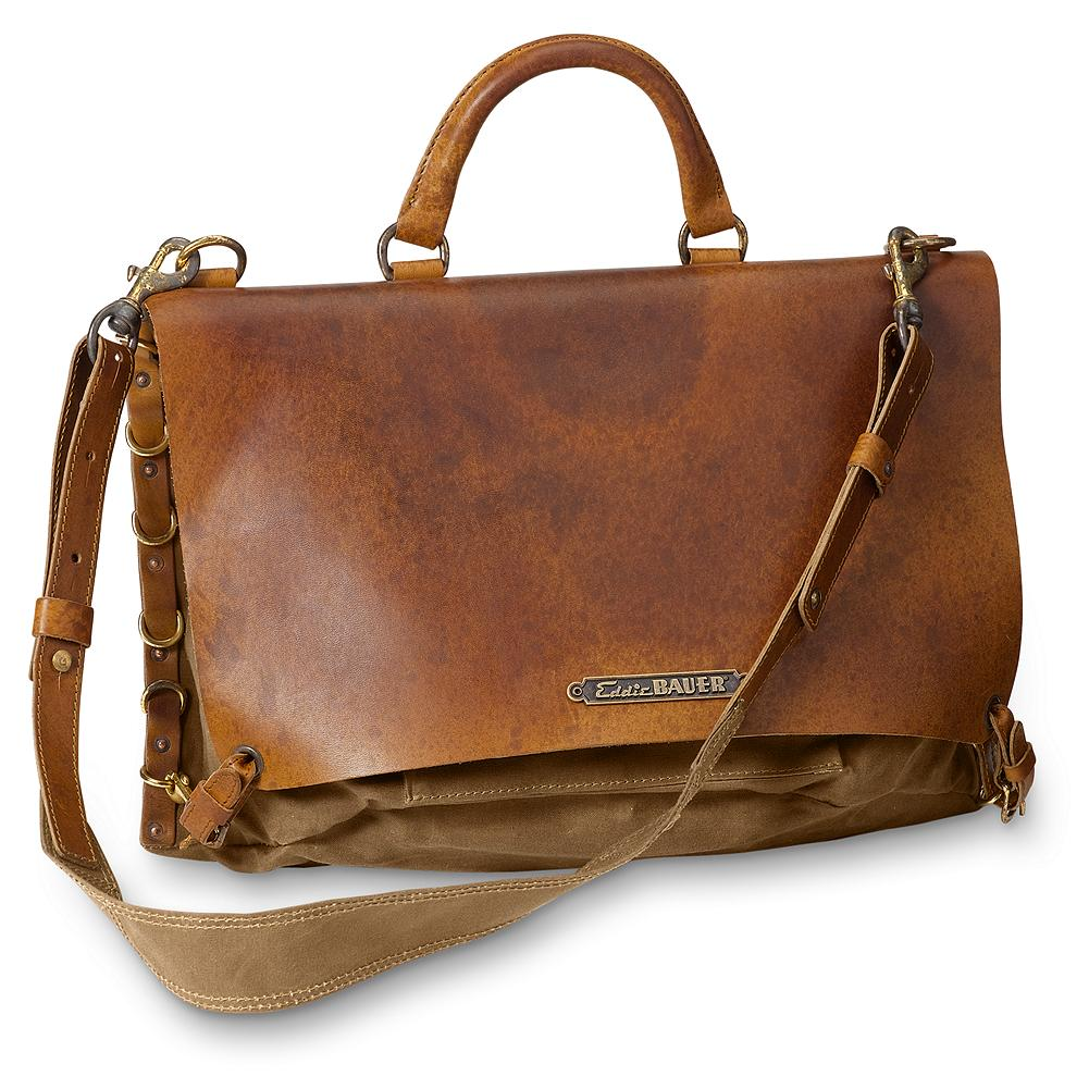 Entertainment Eddie Bauer Packhorse Satchel - Even the most confirmed outdoorsman had to go into town once in awhile. When that day came, he'd carry a bag like this to the bank, land office or stock yard. The main difference now is the cargo. Your cell phone, a notebook or laptop computer all fit nicely, with room to spare. Creating a unique character, each one varies slightly in color. Imported. - $209.99