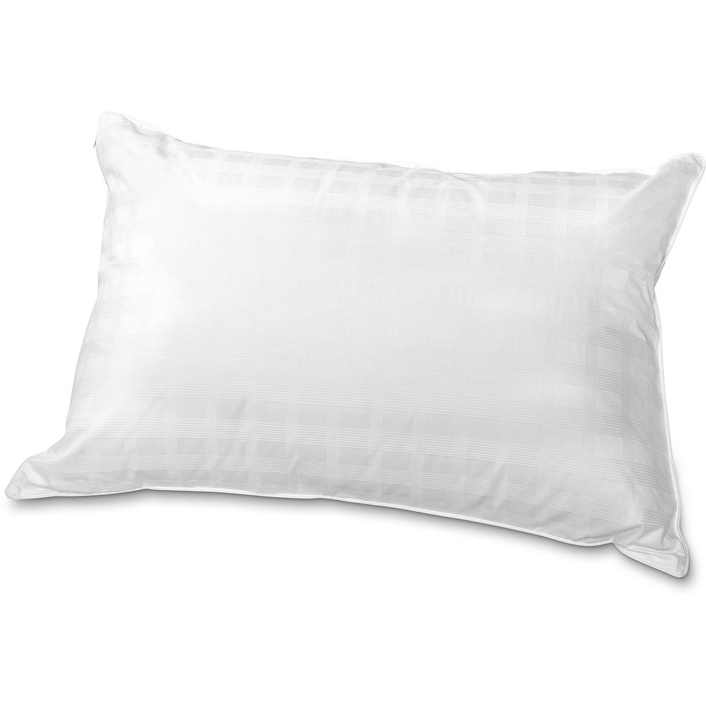 Entertainment Eddie Bauer Superior Goose-Down Pillow - Our most luxurious down pillow offers the highest fill power for outstanding softness and loft. Super-clean down has been washed and rinsed eight times to eliminate dust and allergens. Tightly woven leak-proof cotton shell keeps down in its place while providing lasting durability and encouraging greater loft; features single-needle stitching, cotton corded trim. For added protection, our Superior Pillow comes with a zippered, 360-thread-count cotton damask stripe cover. Goose down/goose feathers. Imported.  Please note: to reduce package size, our pillows are compressed prior to shipping. To restore it to full size, simply give it a good fluffing. - $179.00