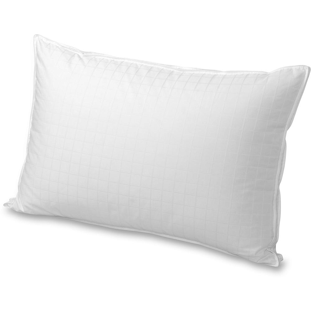 Entertainment Eddie Bauer Premium Goose-Down Pillow - Our premium down pillow offers superior neck support. Tightly woven leak-proof cotton shell keeps down in its place while providing lasting durability and encouraging greater loft. Gusseted pillow construction and piping around the perimeter make this an exceptional pillow. Imported.  Please note: to reduce package size, our pillows are compressed prior to shipping. To restore it to full size, simply give it a good fluffing. - $149.00