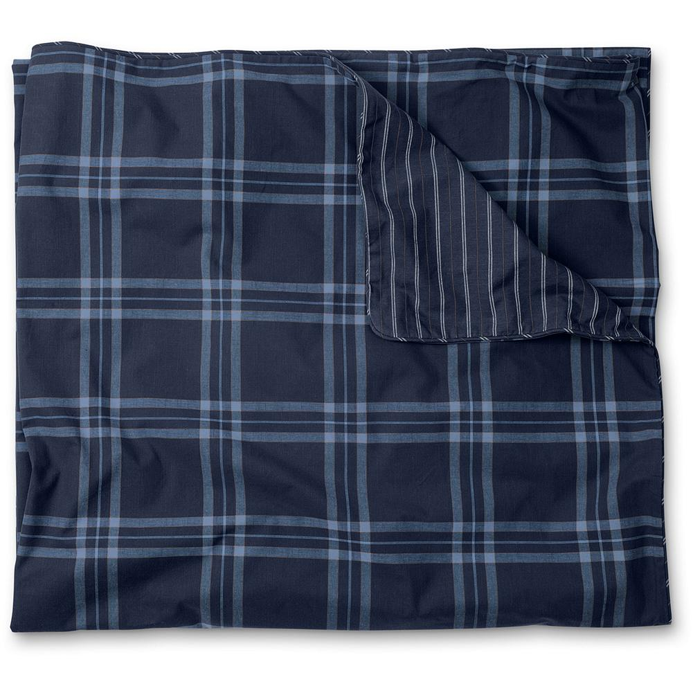 Entertainment Eddie Bauer Weathered Blues Collection Plaid Duvet Cover - From the classic indigo tones and patterns of rugged work clothes of the past comes the inspiration for this collection. Subtle windowpane plaid on top complemented by a classic engineer-inspired stripe on the reverse. Imported. - $89.99