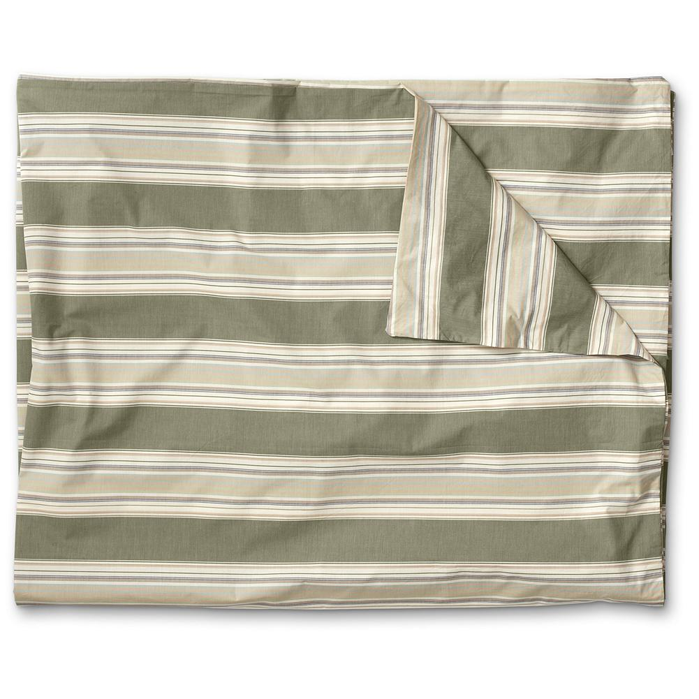 Entertainment Eddie Bauer Chambray Collection Striped Duvet Cover - Inspired by vintage French ticking textiles, the classic muted shades of our striped duvet are versatile enough to coordinate with almost any bedroom decor. Made of soft cotton in tones that mix and match perfectly with our chambray and printed percale sheets. Made in Portugal. - $84.99
