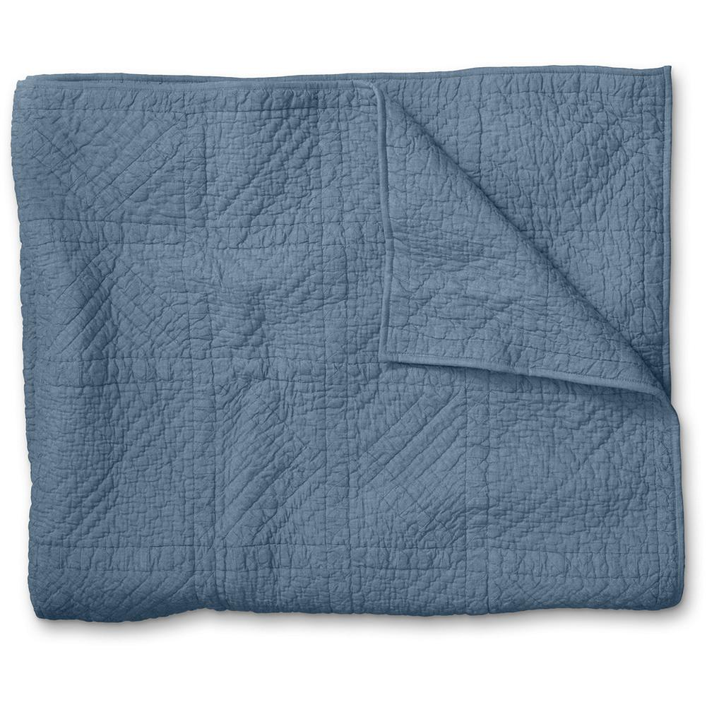 Entertainment Eddie Bauer Chambray Collection Quilt - This beautiful quilt features a hand-pieced geometric pattern in muted shades of blue and green. Made of soft cotton chambray, it adds subtle texture and rustic charm to any bedroom decor. Imported. - $99.99