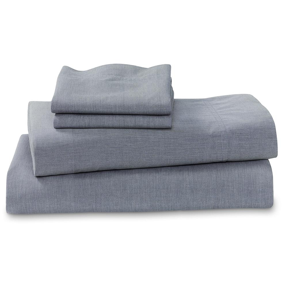 Entertainment Eddie Bauer Chambray Sheet Set - The perfect summer weight sheet set, these 100% cotton linens are exceptionally soft, smooth and lightweight - an ideal comfort combination. Featuring a washed, broken-in look that matches its durability, this sheet set includes a flat sheet, a fitted sheet and two pillowcases. Imported.. - $119.99