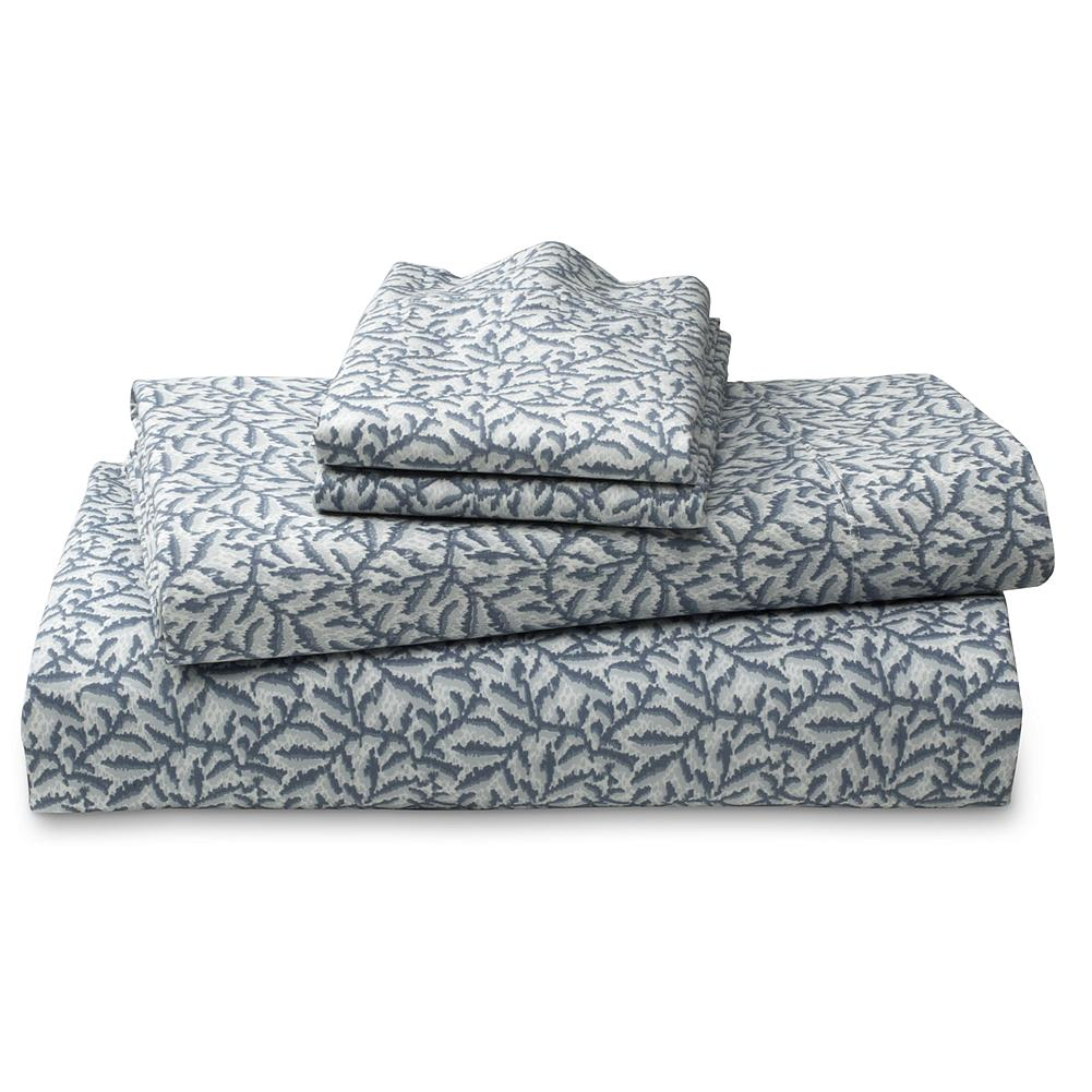 Entertainment Eddie Bauer Printed Percale Sheet Set - This beautiful leaf-pattern sheet set is made of Egyptian cotton - the world's finest - providing the ultimate in comfort and luxury. A special finish adds a touch of luster and smoothness. Includes flat and fitted sheet and two pillowcases (twin size includes one). Imported. - $49.99
