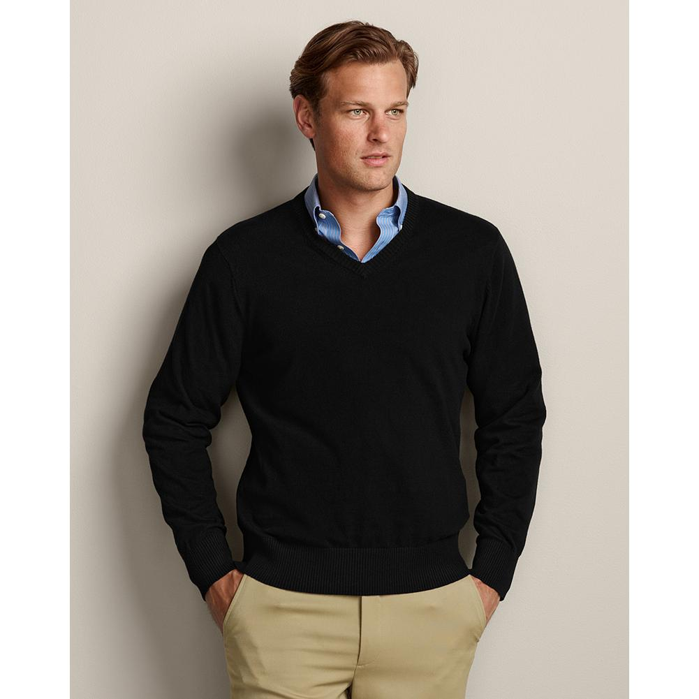 Entertainment Eddie Bauer Sportsman Cotton/Cashmere V-Neck Sweater - Refined, blended yarns of high-quality cotton and cashmere give our V-neck sweater superior softness, shape retention, and color fastness. Smooth, fine-gauge construction includes full-fashioned sleeves to eliminate any bulk at the armholes, making it ideal for layering under a blazer or jacket, or wearing alone. Imported.. - $49.99