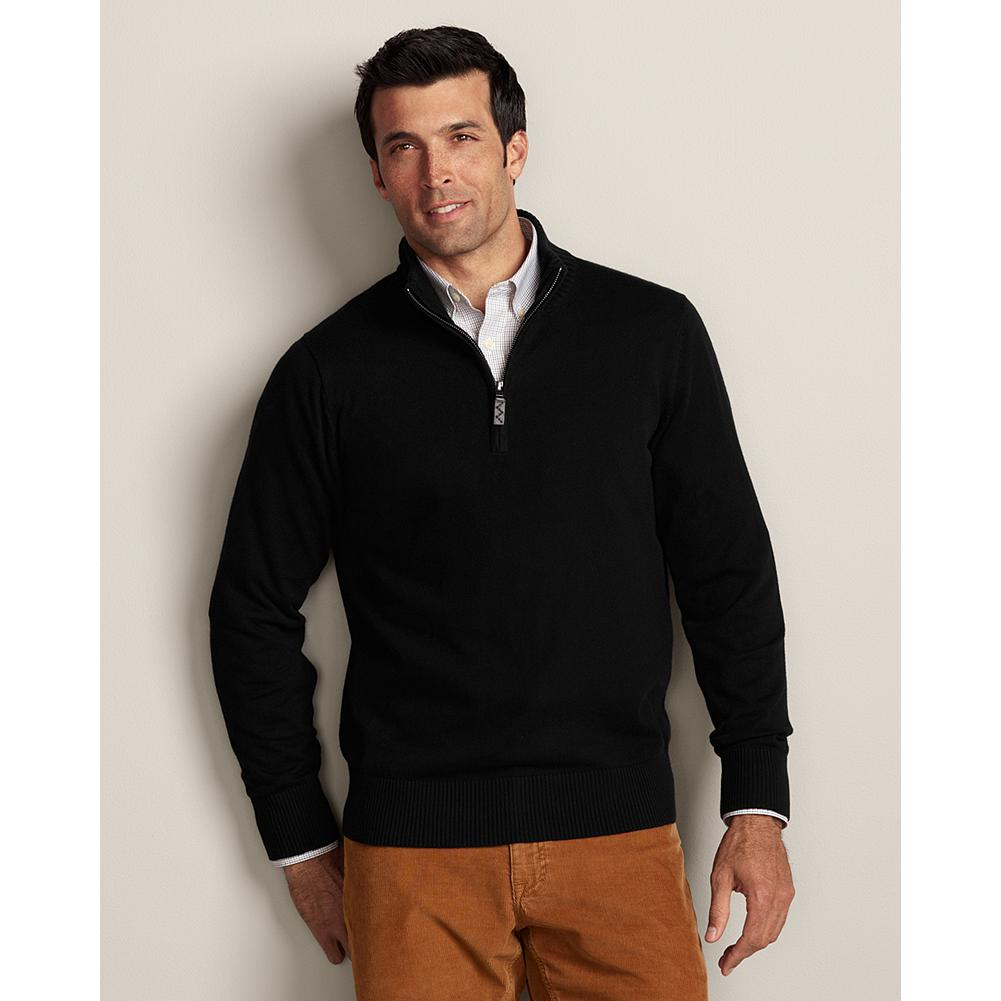 Entertainment Eddie Bauer Sportsman Cotton/Cashmere Quarter-Zip Sweater - Refined, blended yarns of high-quality cotton and cashmere give our quarter-zip sweater superior softness, shape retention, and color fastness. Smooth, fine-gauge construction includes full-fashioned sleeves to eliminate any bulk at the armholes, making it ideal for layering under a blazer or jacket, or wearing alone. Imported.. - $59.99
