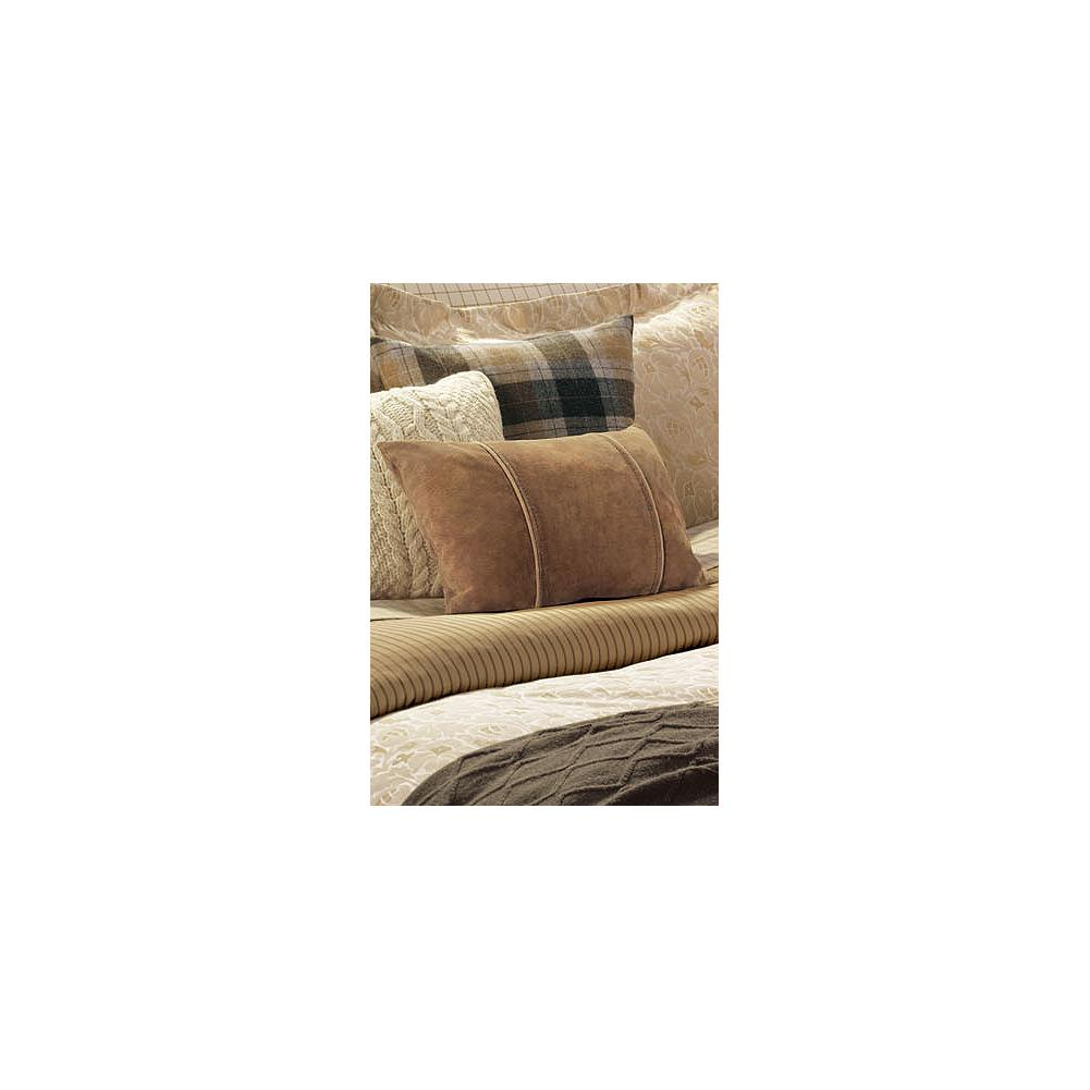 Entertainment Eddie Bauer Suede Throw Pillow - A great addition to any of our bed sets. Softly textured suede leather with contrast suede piping. Removable pillow insert. Imported. - $44.99