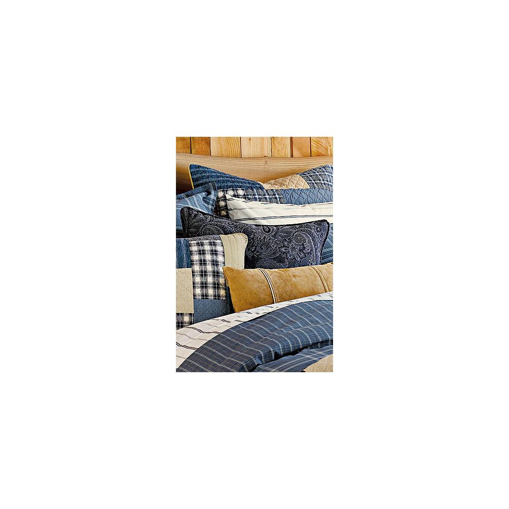 Entertainment Eddie Bauer Weathered Blues Collection Boiled Wool Pillow - The yarn-dyed boiled wool makes this pillow soft and warm. The paisley jacquard pattern makes it beautiful. And it complements our Weathered Blues Collection perfectly. Made in Portugal. - $19.99