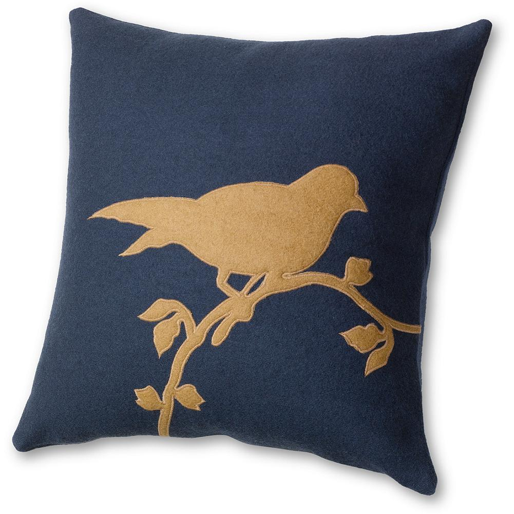 Hunting Eddie Bauer Bird Applique Pillow - This felted, 100% wool decorative pillow brings a touch of the outdoors inside. The bird design is appliqued onto the pillow. The perfect bedding accent for our Log Cabin Collection. Imported. - $34.99