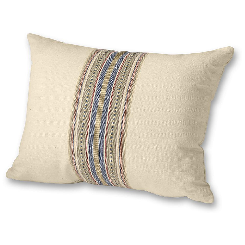 Entertainment Eddie Bauer Chambray Collection Striped Pillow Cover - A detailed, textural strip down the center of this cotton pillow cover adds dimension and creates dynamic impact on your bed. Coordinates beautifully with our chambray bedding items. Cover only; pillow not included. - $9.99