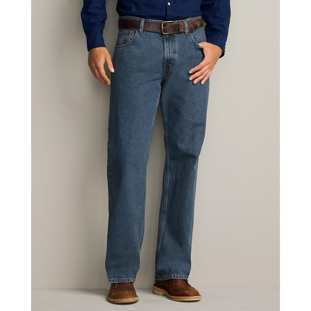 Entertainment Eddie Bauer Relaxed Fit Essential Jeans - A great pair of jeans is something that never goes out of style, so we make ours out of heavyweight 13.5 oz. cotton denim for indestructible comfort that will last for years to come-guaranteed. Each of our four great fits is available in long rise sizes, as well as regular and short inseams, so you're sure to find a pair that fits you perfectly. - $39.95
