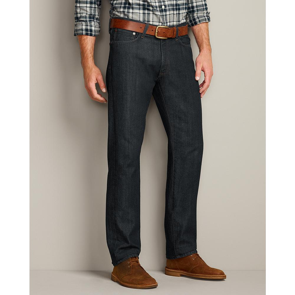 Entertainment Eddie Bauer Slim Fit Authentic Denim Jeans - Our premium slim fit jeans are handcrafted for a well-worn look from the first time you put them on. Exceptional washes and authentic wear patterns give each pair a unique appearance. Sits below waist; slimmer seat and thigh; narrower leg. - $49.95