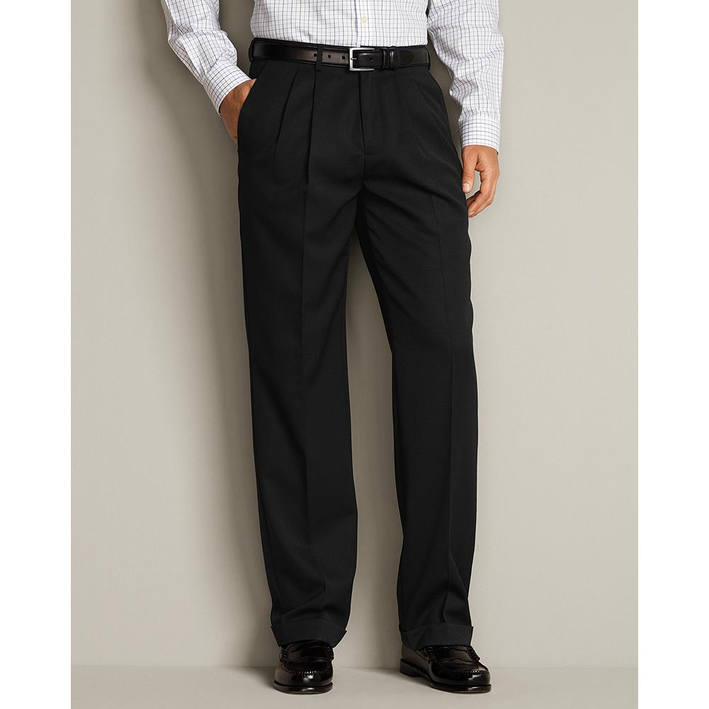 Entertainment Eddie Bauer Classic Fit Pleated Wool Gabardine Trousers - Our finely tailored trousers are soft, durable and good-looking. Now offered in our Classic Fit, they're lined to the knee on the front panel for added comfort and excellent drape. Imported. - $129.95