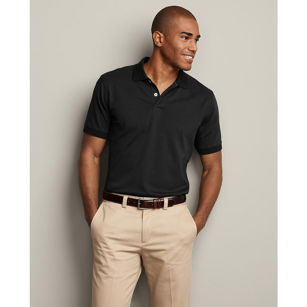 Entertainment Eddie Bauer Classic Fit Short-Sleeve Pima Interlock Polo Shirt - We use long-staple pima cotton for our polos for good reason. The surface is lustrous and the feel is silky, yet this cotton is known for its durability. Finishing details include a flat-knit collar, a two-button placket and a shirt tail hem. Imported. - $29.99
