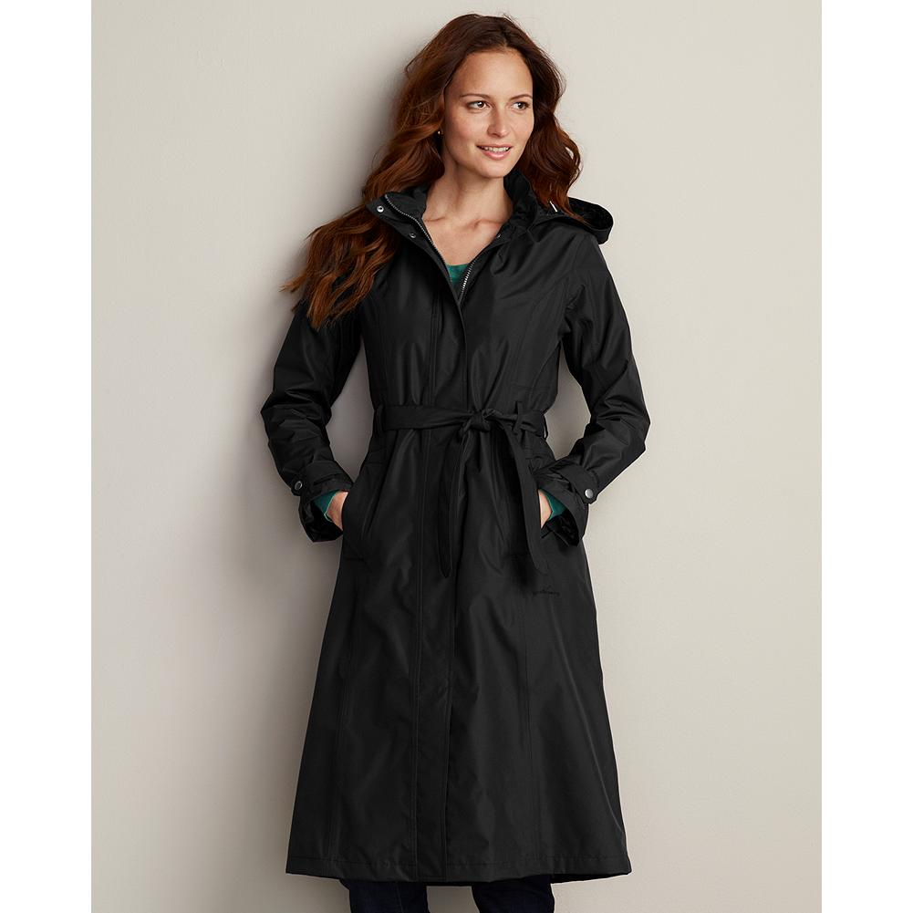 Entertainment Eddie Bauer WeatherEdge Long Trench Coat - Surprise showers are no reason to reroute your busy day. Just be sure to take along this trench for reliable wind and rain protection. Fully seam-sealed with WeatherEdge waterproof, breathable construction. Removable hood. Fully lined double-layer nylon shell with feminine princess seams. Imported.                                           WeatherEdge                                                                              Reliable waterproof, breathable protection that isideal for general uses and moderate activity. - $199.00