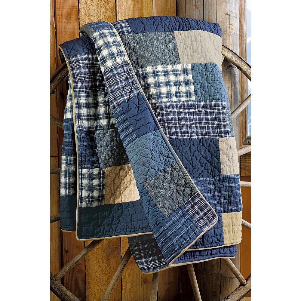 Entertainment Eddie Bauer Weathered Blues Collection Quilt - An authentic American tradition, this exclusive hand stitched quilt brings a beautiful finished look to any bed or home, and it complements our Weathered Blues Collection perfectly. Made in Portugal. - $219.99