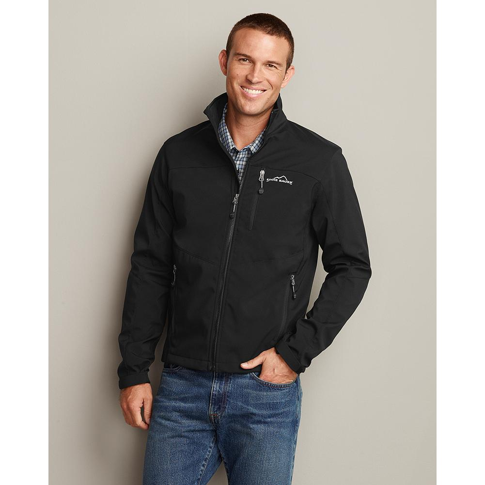Entertainment Eddie Bauer Windfoil Elite Soft Shell Jacket - This wind- and water-resistant softshell jacket breathes extremely well and stretches for a liberating range of motion during any outdoor activity. It's made of polyester/spandex, with a polyester fleece lining, and styled with a full-zip front, stand-up collar and zippered front pockets. Adjustable cuffs and drawcord at the hem seal out the cold. Imported. - $99.00