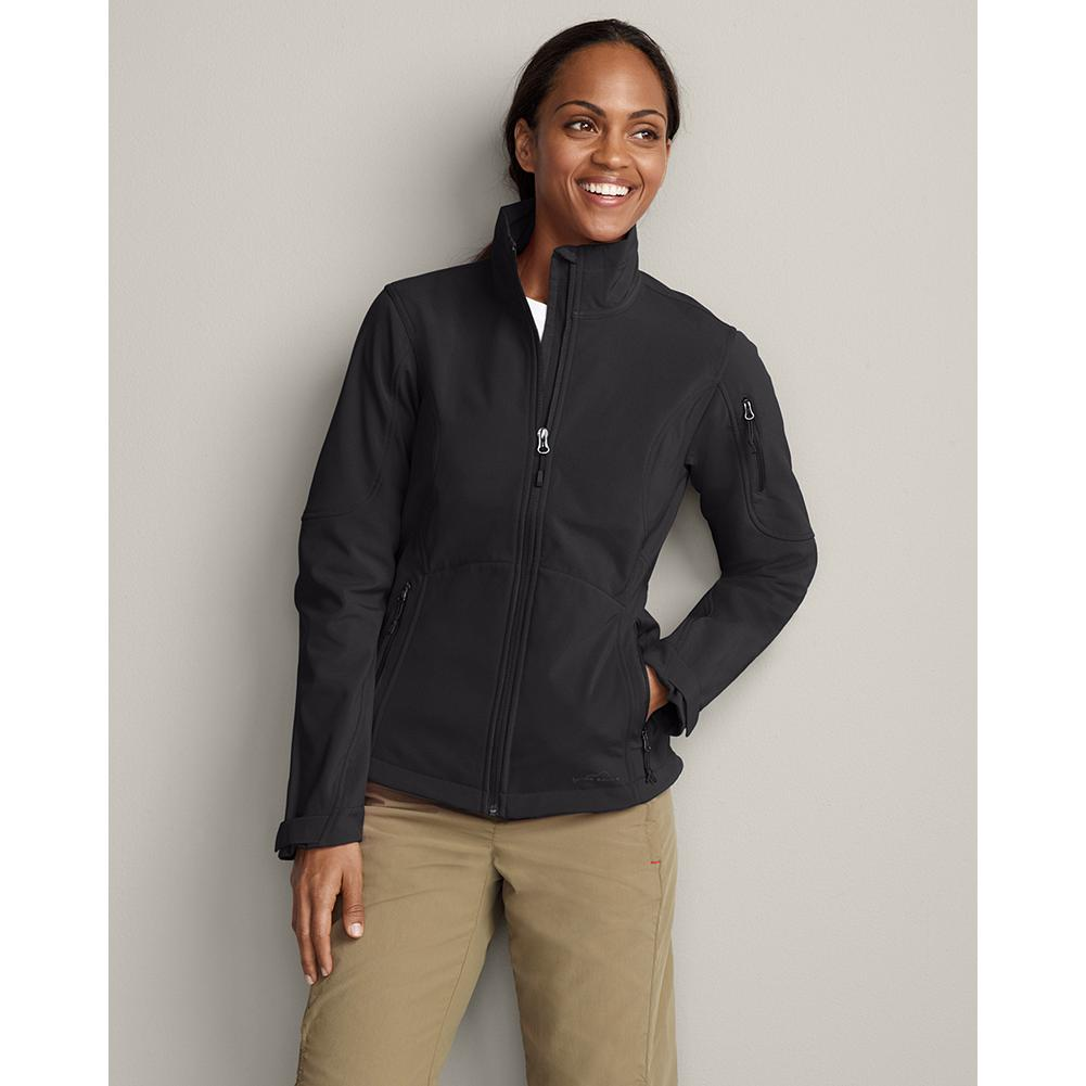 Entertainment Eddie Bauer Windfoil Elite Soft Shell Jacket - This wind- and water-resistant soft shell jacket breathes extremely well and stretches for a liberating range of motion during any outdoor activity. It's made of polyester/spandex and styled with a full-zip front, stand-up collar and zippered front pockets. Adjustable cuffs and drawcord at the hem seal out the cold. Imported. - $99.00