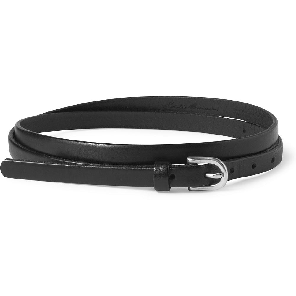 Entertainment Eddie Bauer Skinny Belt - A favorite style, redesigned with a new buckle and updated leather and finishes. Gold and Butterscotch have an antiqued brass buckle; Raven and Pewter have a nickel-finished buckle. Gold and Pewter are imported; Butterscotch and Raven are made in USA.. - $29.95