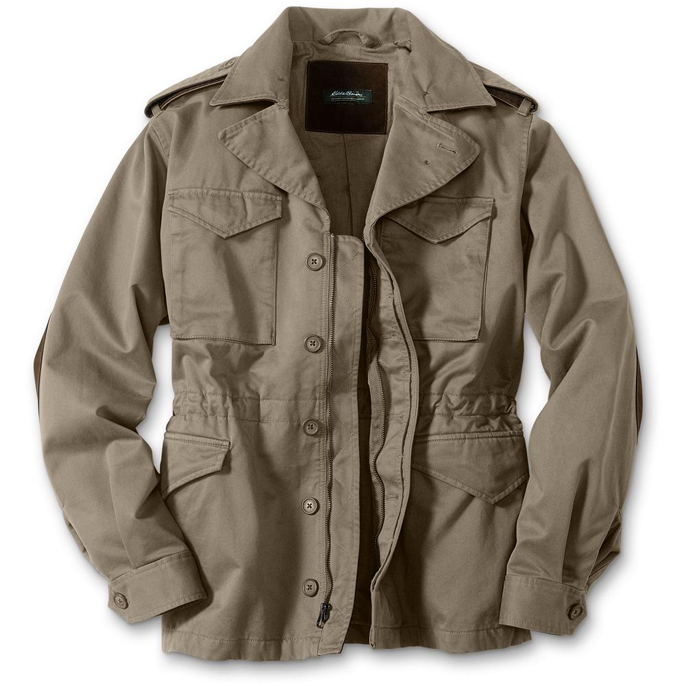 Entertainment Eddie Bauer Bush Jacket - We've loaded this jacket with authentic safari details, such as leather elbow patches and trim, a zippered interior security pocket, an action back and an adjustable waist drawcord. Constructed in 10.5-oz. cotton Explorer Cloth and ready for adventures of all kinds. Imported.. - $159.00