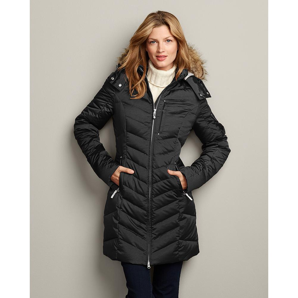 Eddie Bauer Sun Valley Down Parka - A subtle iridescent sheen and slimming chevron quilt lines lend style and sophistication to this hardworking parka. The two-way front zipper lets you adapt easily to changing weather, and 550 fill Premium European Goose Down keeps you comfortable and warm down to 0degF. - $249.00