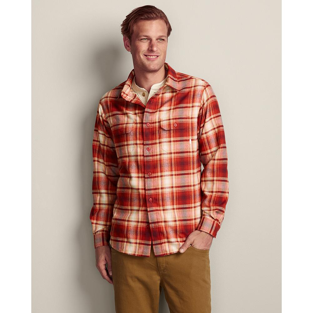 Ski Eddie Bauer Expedition Flannel Shirt - Soft, comfortable, hollow-core polyester fabric sets this shirt apart from other flannel shirts. Go ahead and ski, hike, chop wood and then relax. This unique moisture-wicking fabric keeps you comfortable all day long. Imported. - $34.99