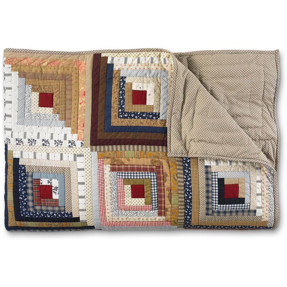 Entertainment Eddie Bauer Log Cabin Quilt - Strips of fabric in contrasting colors and designs are hand quilted to form an an intricate block pattern that adds texture to any bed, sofa or chair. 100% cotton printed percale. Three-ply construction. Multi-colored. Imported. - $279.95