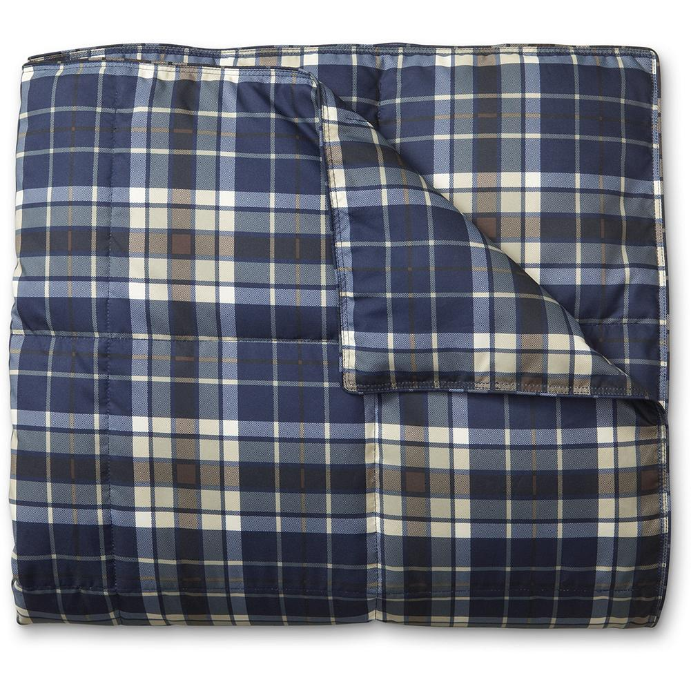 Entertainment Eddie Bauer Oversized Plaid Down Throw Blanket - Our oversized down throw gives you more snuggling room. It's made of polyester microfiber and insulated with 550 fill Premium European Goose down for the ultimate in lightweight warmth. Imported. - $80.00