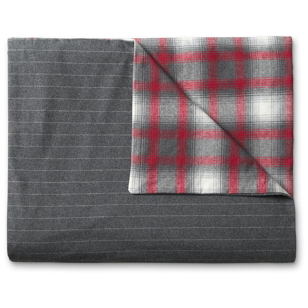 Entertainment Eddie Bauer Northwest Retreat Collection Reversible Flannel Duvet Cover - Our charming lodge-inspired flannel duvet features a vintage shadow plaid in shades of heather gray and red on one side, and versatile charcoal pinstripes on the other. Made of cozy 6 oz. Portuguese cotton flannel with hidden-button closure. - $199.95