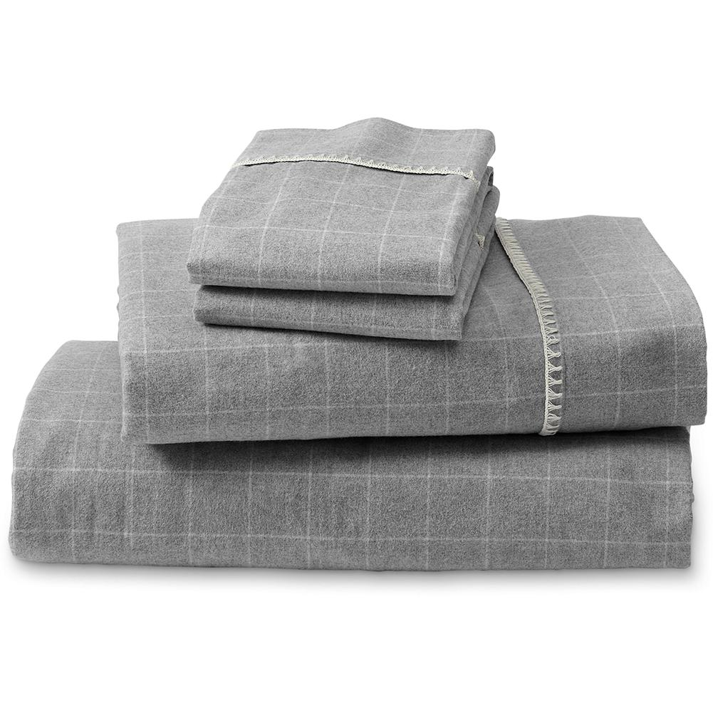 Entertainment Eddie Bauer Northwest Retreat Collection Flannel Sheet Set - Made of pure 6 oz. Portuguese cotton flannel in a classic windowpane plaid with embroidered cuff detail. Includes 1 flat sheet, 1 fitted sheet and 2 standard pillowcases. Coordinates with our Northwest Retreat Reversible Flannel Duvet. - $159.95