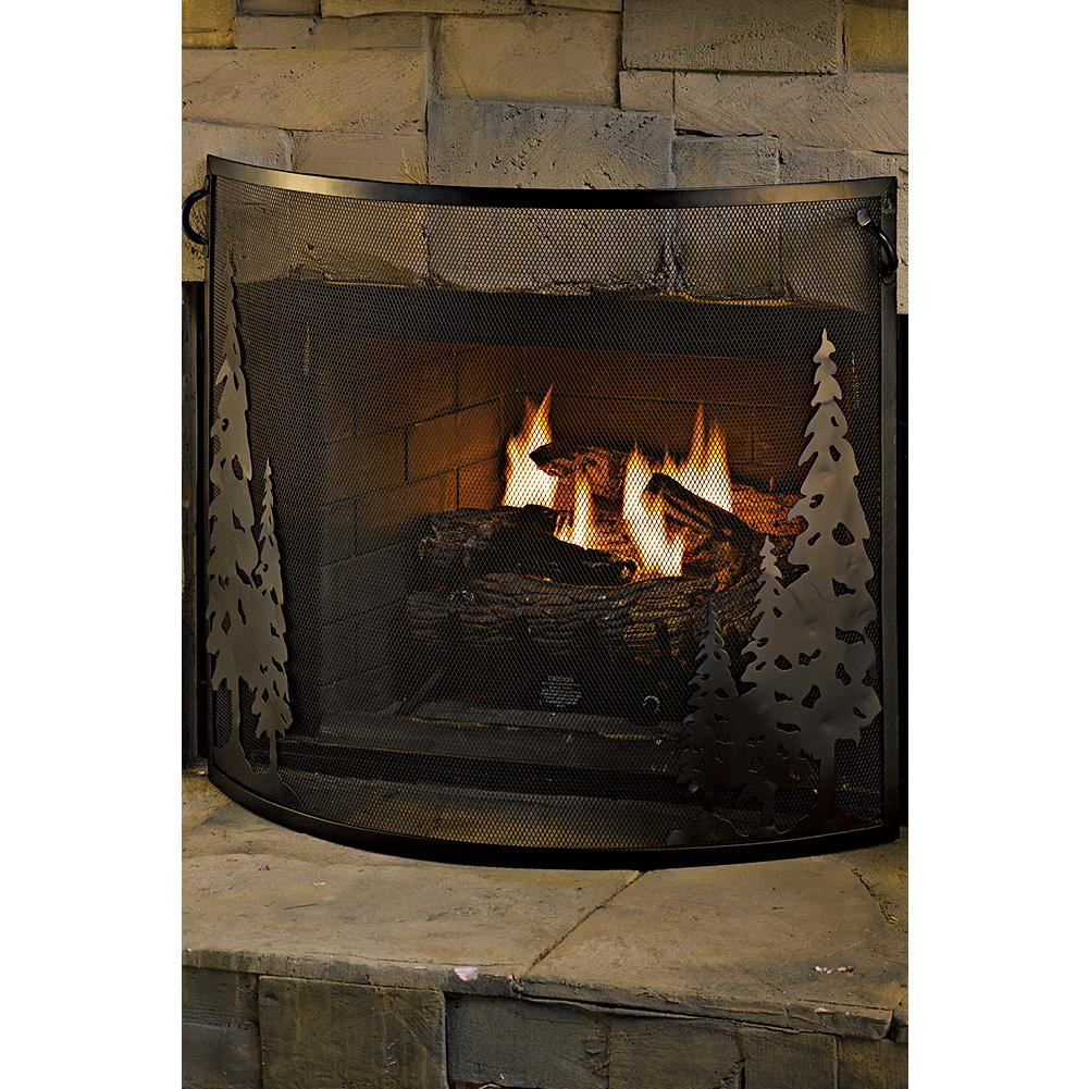 Entertainment Eddie Bauer Fireplace Screen - Charming and rustic in wrought iron with expanded mesh backing and cut-out forest scenes on either side. Exclusively ours. - $79.99