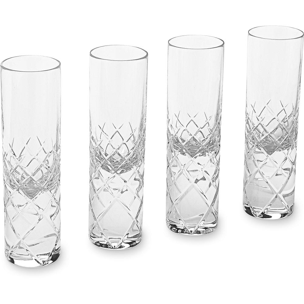 Entertainment Eddie Bauer Shot Glass Set - This elegant set of four etched leaded crystal shot glasses feature our signature diamond-quilt pattern. Made in Portugal. - $39.99