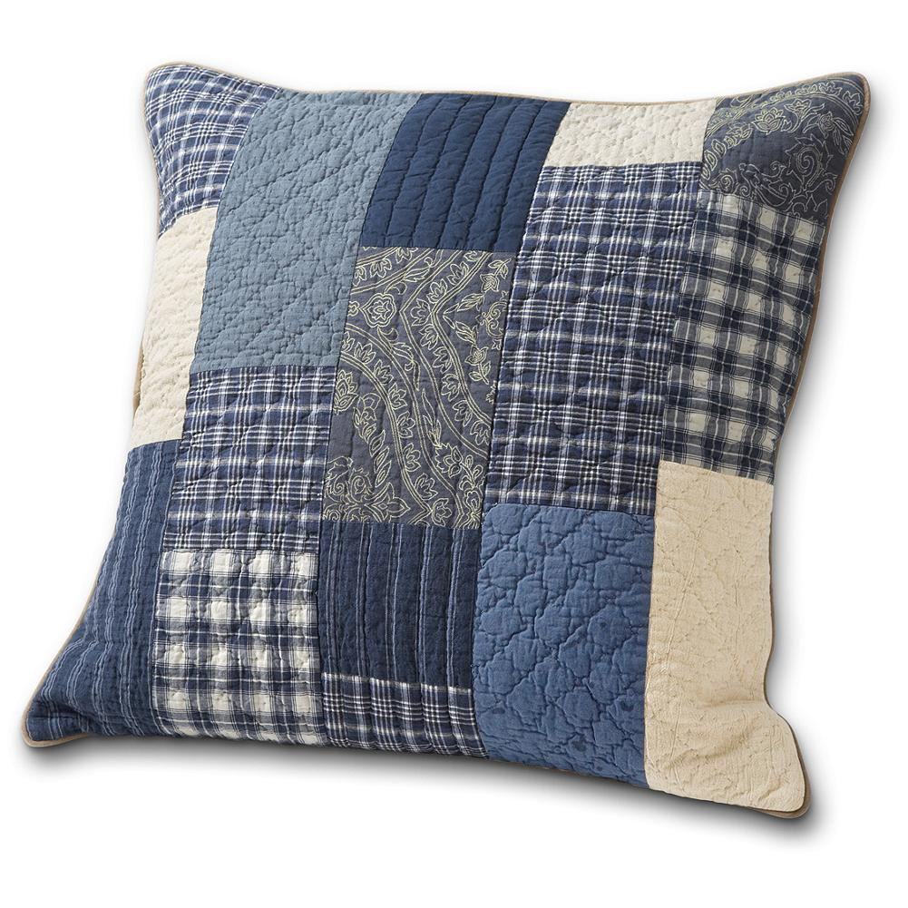 Entertainment Eddie Bauer Weathered Blues Collection Sham - An authentic American tradition, the hand stitched quilting of this pillow sham brings a beautiful finished look to any bed or home. And it complements our Weathered Blues Collection perfectly. Made in Portugal. - $14.99