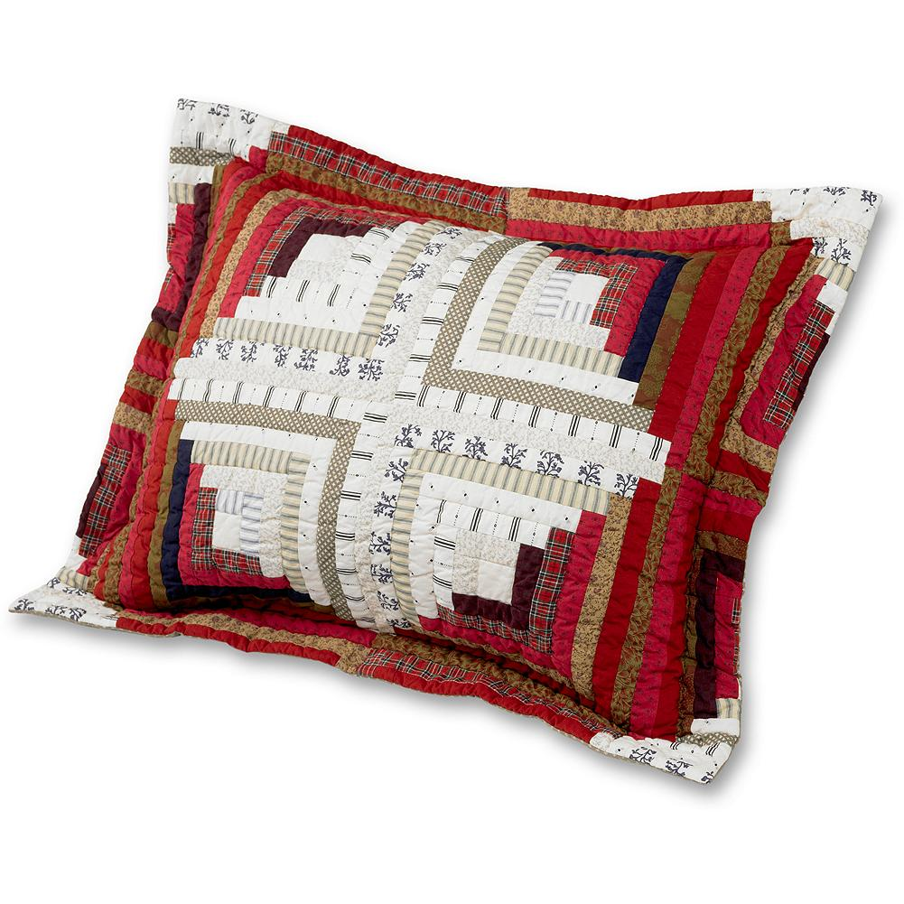 "Entertainment Eddie Bauer Log Cabin Sham Pillow - This charming sham is made of 100% cotton printed percale and features a hand-quilted pattern on the front. Finished with a 2"" flange around the perimeter, and a 51/2"" overlap entry for your pillow. - $24.99"