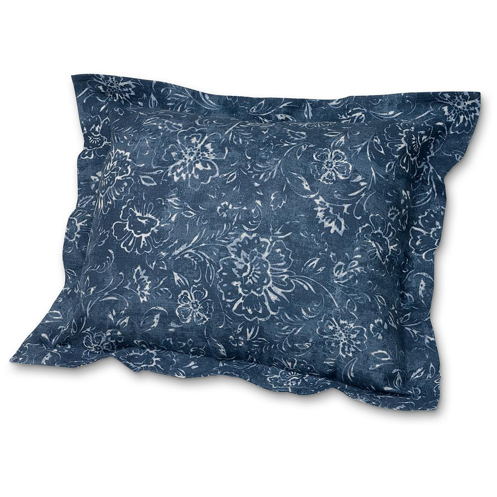 "Entertainment Eddie Bauer Batik Dream Sham Pillow - Woven in Portugal out of 100% cotton, this sham features a 2"" flange and a subtle woodblock floral pattern over layered shades of blue. Imported.. - $14.99"