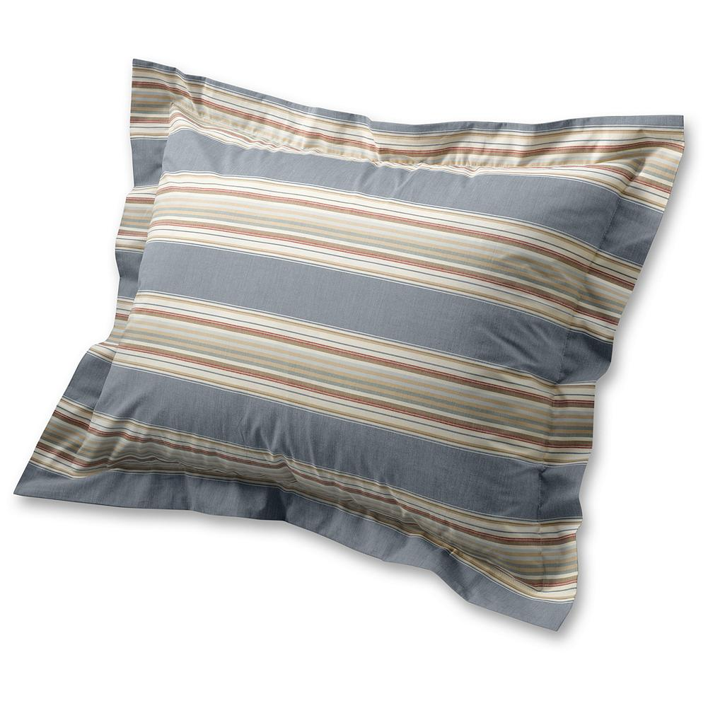 Entertainment Eddie Bauer Chambray Collection Striped Sham Pillow - Inspired by vintage French ticking textiles, these soft cotton shams are versatile enough to coordinate with almost any bedroom decor. They're made of soft cotton in muted blue tones that mix and match perfectly with our chambray and printed percale sheets. Made in Portugal. - $16.99