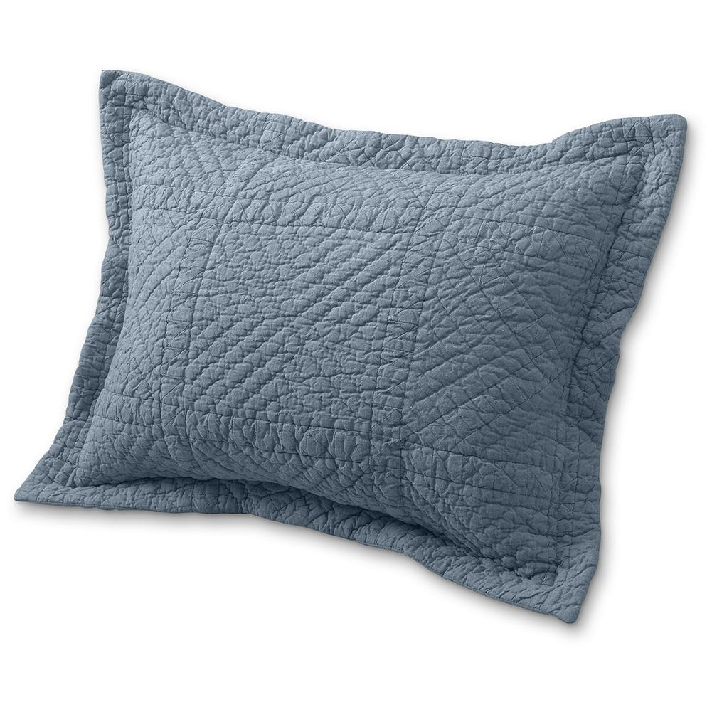 Entertainment Eddie Bauer Chambray Collection Quilt Sham - These beautiful shams feature a hand-pieced geometric pattern in muted shades of blue. Made of soft cotton with a solid chambray back. Imported. - $24.99