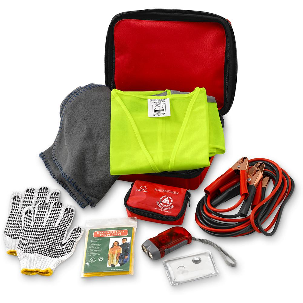 Auto and Cycle Eddie Bauer Car Emergency Kit - Handle a multitude of roadside emergencies with our convenient, all-in-one kit. Includes jumper cables, LED flashlight, rain poncho, blanket, cotton gloves, first-aid kit, handwarmer, reflective vest and carrying case. Imported. - $39.95